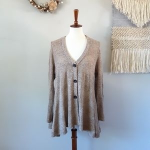 Comfy USA | Button Front Cardigan Sweater - TAN